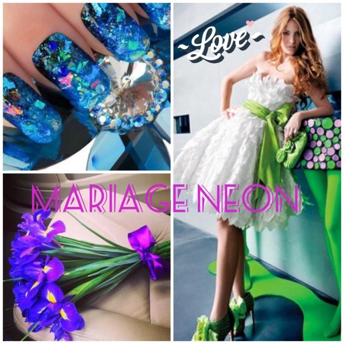 collage mariage neon vert blog